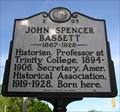 Image for John Spencer Bassett, Marker E-95