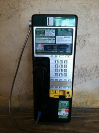 This phone accepts coins, credit cards, and phone cards.