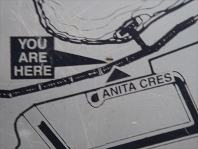 Section of the map of the Kooloonbung Creek boardwalk map, showing that you are near Anita Crescent. 1727, Sunday, 12 February, 2017