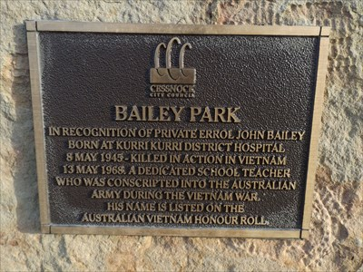 The plaque below the Liquid Amber 'Dedicated Tree' in Bailey Park, NSW.