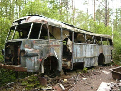Even a bus can be found in the woods