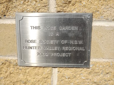 The plaque from the Rose Society of NSW, from 2002.