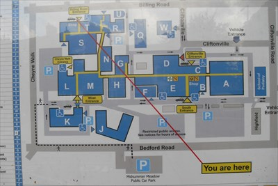 Northampton General Hospital Map You Are Here, The Billing Road Entrance, Northampton General  Northampton General Hospital Map