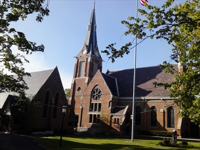 The First Presbyterian Church is located across from Van Cleve Park.