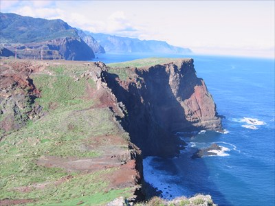 Along the north coast . The trai from Boca Risco to Porta do Cruz is a spectacular hike along this sea cliff.