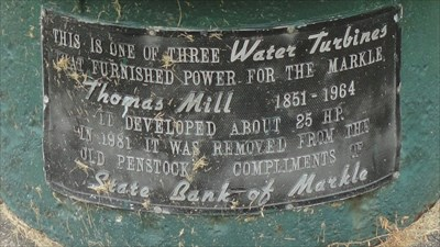 Water Turbine - Markle, IN - Signs of History on Waymarking.