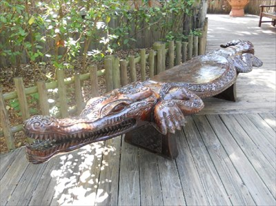 Crocodile Benches St Augustine Fl Outside Wooden