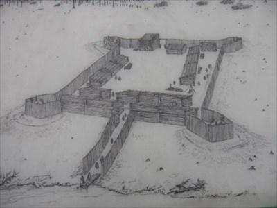 Rendition of original fort based on several archeological digs.