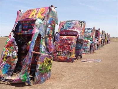 veritas vita visited Cadddie Graffitti at Cadillac Ranch