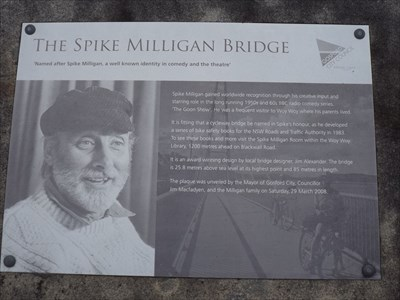 The Dedication plaque, on the Gosford end of the bridge.