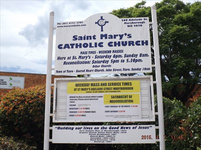 A sign for the church, on Adelaide Street, Maryborough, Qld