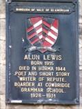 Image for Alun Lewis - Memorial Plaque - Cowbridge, Vale of Glamorgan, Wales