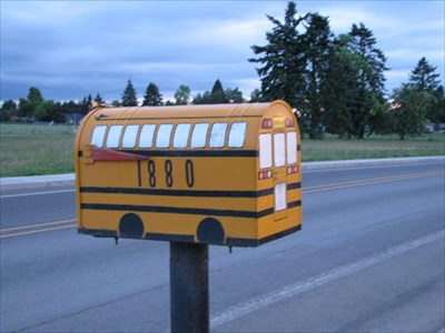 Canby oregon school bus mailbox themed homemade mailboxes on