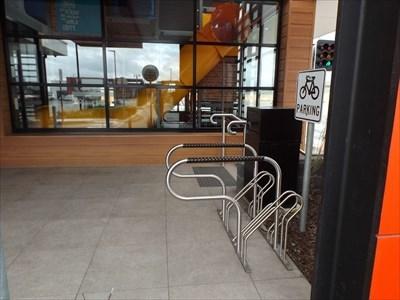 The bike racks in the entry. 1004, Thursday, 29 August, 2019