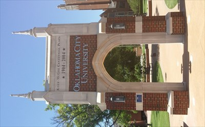 Freestanding arch at one entrance to the Oklahoma City University
