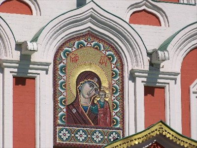 This mosaic copy of the Kazan Icon is on the exterior of the Cathedral.