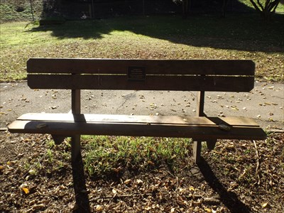 The wooden bench that honours Eric Wehner.