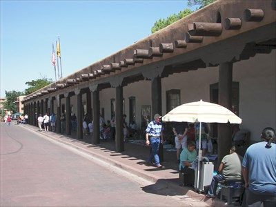 Palace of the Governor now hold the New Mexico History Museum.  It is on the north side of the plaza on N. Palace Ave.