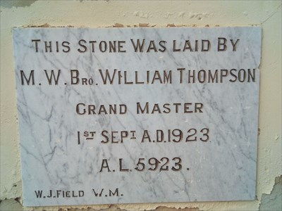 Close up of the Foundation Stone of the Masonic Lodge.0844, Tuesday, 22 May, 2018