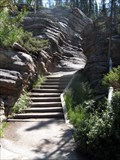 Image for Stairs to Lower Canyon of Athabasca Falls, Jasper Natl Park, Canada