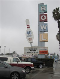 Sign and Bowling Pin, Anaheim, CA
