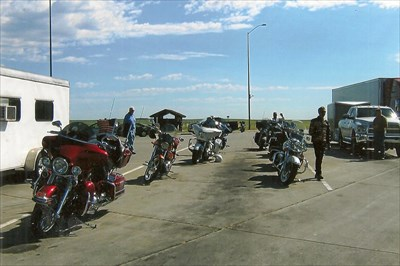 the bikes, all ten of us, at the rest area