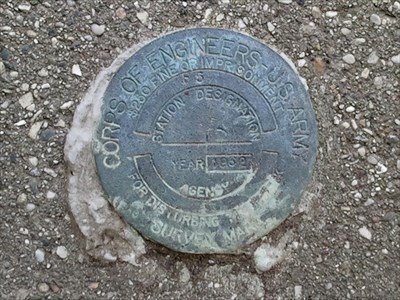 U.S. Army Corps of Engineers survey mark F5 on Rouge River gage station in Farmington