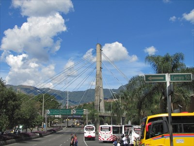 Cable-Stay Bridge from San Juan Street Level, Medellin, Colombia
