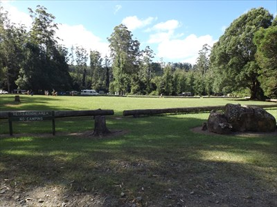 A wider view of the camping and recreation area, with the boulder and plaque on the right. Saturday, 12 March, 2016