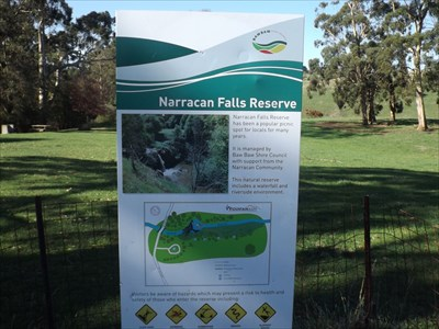 A sign near the car park for the falls and Reserve. Friday, 6 May, 2016