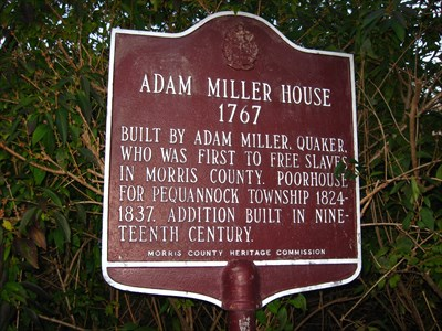 Adam Miller House, Boonton NJ. in New Jersey Historical Markers