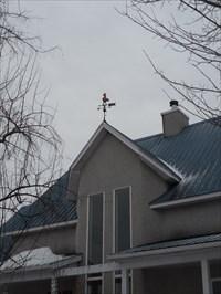 Photo du Coq et une partie de la maison.  Photo of the Rooster and part of the house.