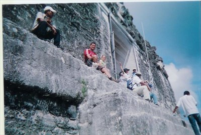 sitting on temple four above the canopy