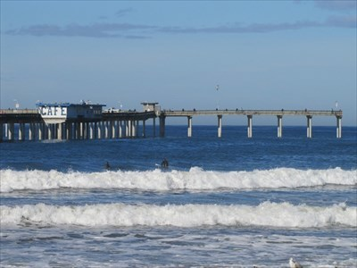 Far End of the Pier and Surfers, San Diego, CA