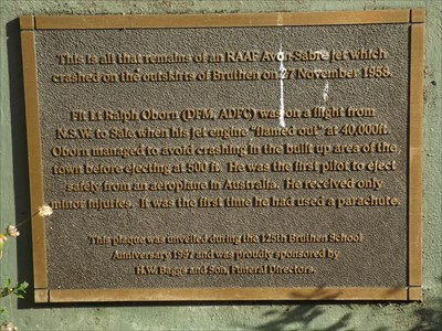 The plaque on the concrete base for the remaining piece of the plane that crashed 4 km north of Bruthen, 27 November, 1958.