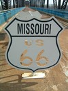 Bicycle rank on the state line with Illinois on one end and Missouri on the other.