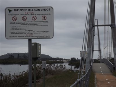 Council sign and bridge.