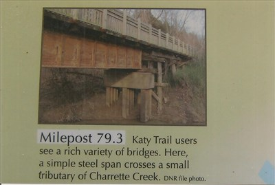 Katgy trail users see a rich variety of bridges. Here, a simple steel span crosses a small tributary of Charrette Creek.