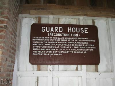 Sign inside the reconstructed Guard House.