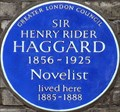 Image for Sir Henry Rider Haggard - Gunterstone Road, London, UK