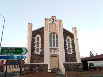 The street view of the former church, now hall. 0720, Tuesday, 29 May, 2018