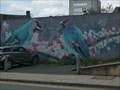 Image for 'Waxwings in Stoke' Mural - Hanley, Stoke-on-Trent, Staffordshire, England, UK.