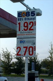 The price sign credits the local ABENGOA BIOENERGY plant for supplying the E85.  Photo taken Sept. 5. 2009.