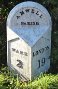 Image for Mile Stone - A1170, Amwell Hill, Ware to Hoddesdon road, Great Amwell, Hertfordshire, UK.