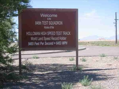 Not to far from the GO & MACH 10 signs at the Sled Test Track.  This sign documents the World Land speed record set here.