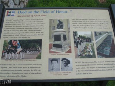 Died on the Field of Honor... -- Historical sign with info about the VMI cadets who died at the Battle of New Market.
