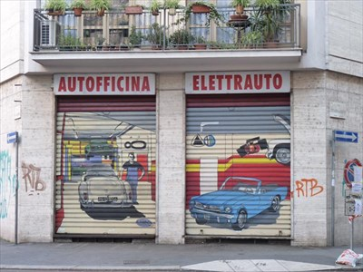 Autofficina milan italy garage door art on Italian garage doors
