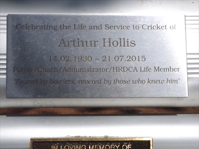 The upper plaque for a great cricketer.