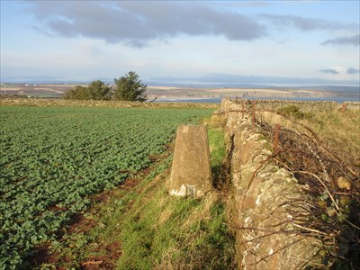 The pillar on the edge of the field next to the wall. Lunan Bay is in the background.
