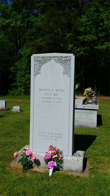 """Famous person """"Aunt Bee"""" grave marker in Siler City, NC."""